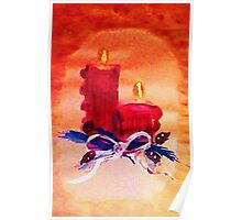 #1 Christmas card ,red candles,  watercolor Poster