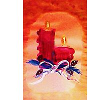 #1 Christmas card ,red candles,  watercolor Photographic Print
