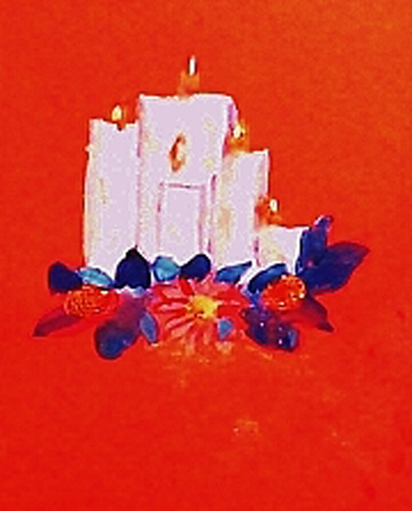 #2 Christmas card ,white grouping candles,  watercolor by Anna  Lewis, blind artist
