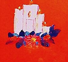 #2 Christmas card ,white grouping candles,  watercolor by Anna  Lewis