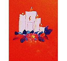 #2 Christmas card ,white grouping candles,  watercolor Photographic Print