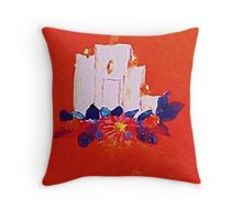#2 Christmas card ,white grouping candles,  watercolor Throw Pillow