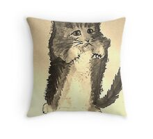 No bath today!  watercolor Throw Pillow