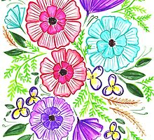 Watercolor Bright Spring Bouquet  by rubyandpearl