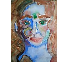 Blue Lady Original Watercolor Painting Photographic Print