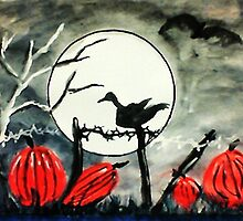 Raven on fence post on Halloween, watercolor by Anna  Lewis