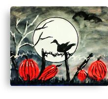Raven on fence post on Halloween, watercolor Canvas Print