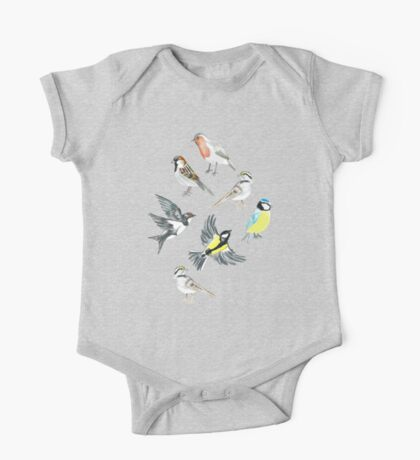 Illustrated Birds One Piece - Short Sleeve