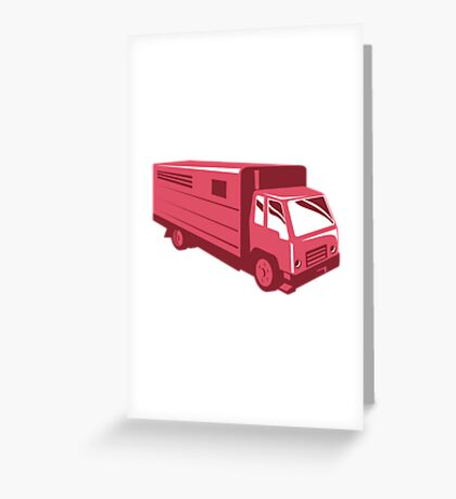 horse truck trailer retro Greeting Card
