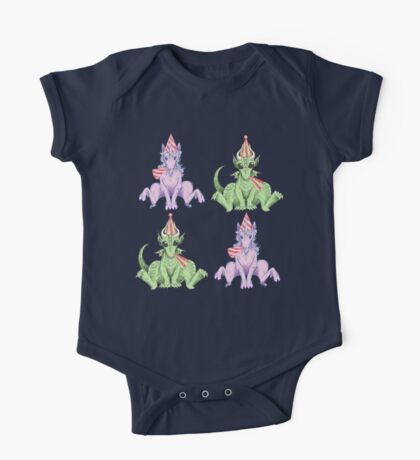 Party Hat Unicorns and Dragons One Piece - Short Sleeve