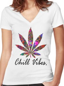 CHILL VIBESS Women's Fitted V-Neck T-Shirt