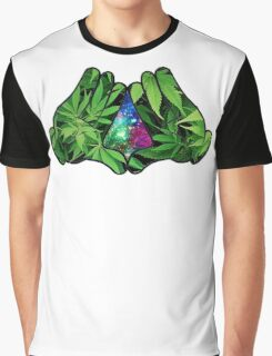 The Weed Galaxy Hands Graphic T-Shirt
