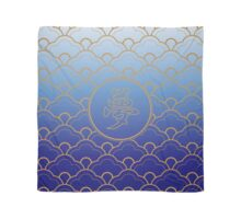 Yume Dream Japanese Seigaiha Scallop Blue Gold Scarf