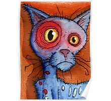 blue zombie cat Poster