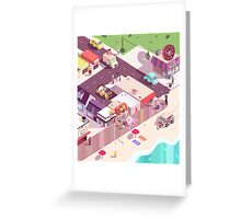 Isometric Beach City Greeting Card