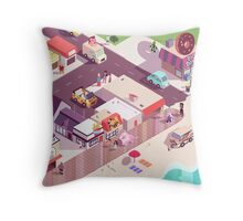Isometric Beach City Throw Pillow