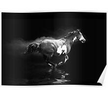 Galloping Pinto Horse and Smoke Poster