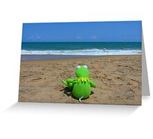 Beach Sea Sea view Water Lonely Frog Greeting Card