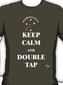 Keep Calm & Double Tap! dark shirts T-Shirt