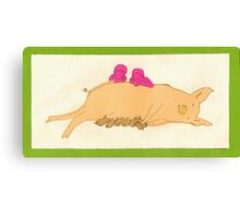Pig and Piglets Canvas Print