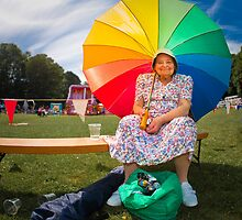Happy old lady village fete by Heather Buckley