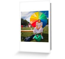 Happy old lady village fete Greeting Card