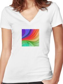 Abstract Rainbow Background Women's Fitted V-Neck T-Shirt