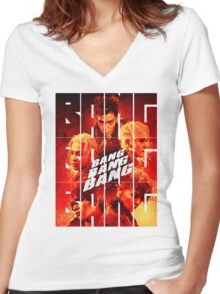 BIGBANG 'BANG BANG BANG' Typography 2 Women's Fitted V-Neck T-Shirt