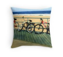 Boardwalk Bicycles Throw Pillow