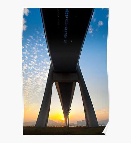 Tsing Ma Bridge in Hong Kong at sunset time Poster