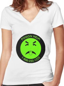 Retro Mr.Yuk poison Women's Fitted V-Neck T-Shirt