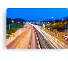 Majestic highway traffic in Hong Kong at night Canvas Print