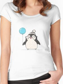 Christmas Penguin Balloon Women's Fitted Scoop T-Shirt