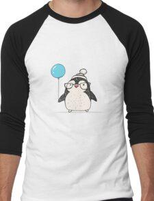 Christmas Penguin Balloon Men's Baseball ¾ T-Shirt