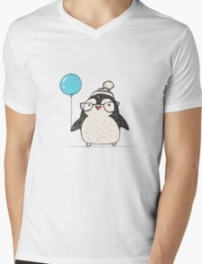 Christmas Penguin Balloon Mens V-Neck T-Shirt