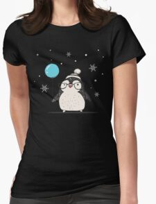 Christmas Penguin Balloon Womens Fitted T-Shirt