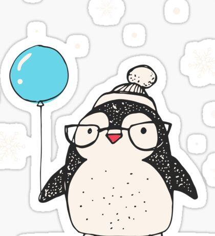 Christmas Penguin Balloon Sticker
