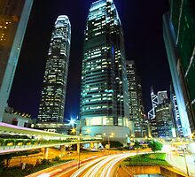 Busy traffic in Hong Kong at night by kawing921