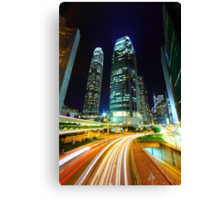 Busy traffic in Hong Kong at night Canvas Print
