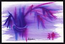 Lilac Mist - watercolor zen bamboo painting by Rebecca Rees