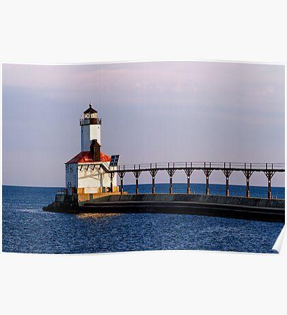 Michigan City, Indiana Light at Dawn Poster