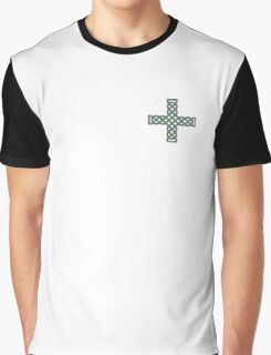 Celtic Cross in Green and Blue Graphic T-Shirt