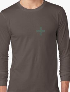 Celtic Cross in Green and Blue Long Sleeve T-Shirt