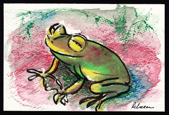 Happy Frog - watercolor & prisma pencil painting  by Rebecca Rees