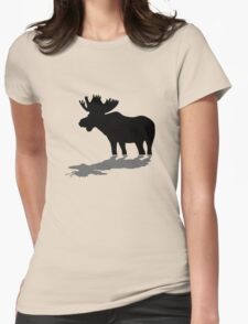 Moose at lake Womens Fitted T-Shirt