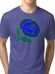 Retro Seventies style rose flower blue Tri-blend T-Shirt