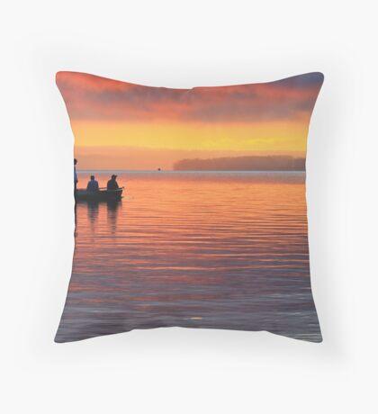 Fishing at Sunrise Winnipesaukee Throw Pillow