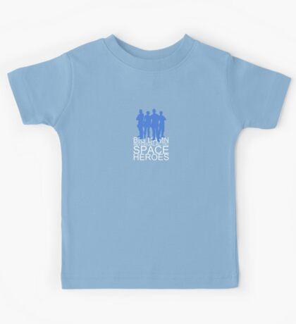 Big damn intergalactic space heroes. (Clothing/blue design) Kids Tee