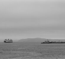 Tug, freighter, ferry - Puget Sound, Seattle, Washington by Julie Van Tosh Photography