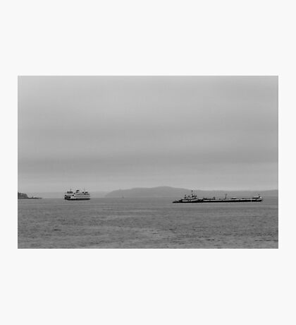 Tug, freighter, ferry - Puget Sound, Seattle, Washington Photographic Print